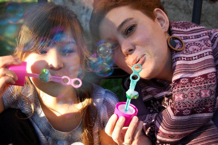 s dcerou a bubliny